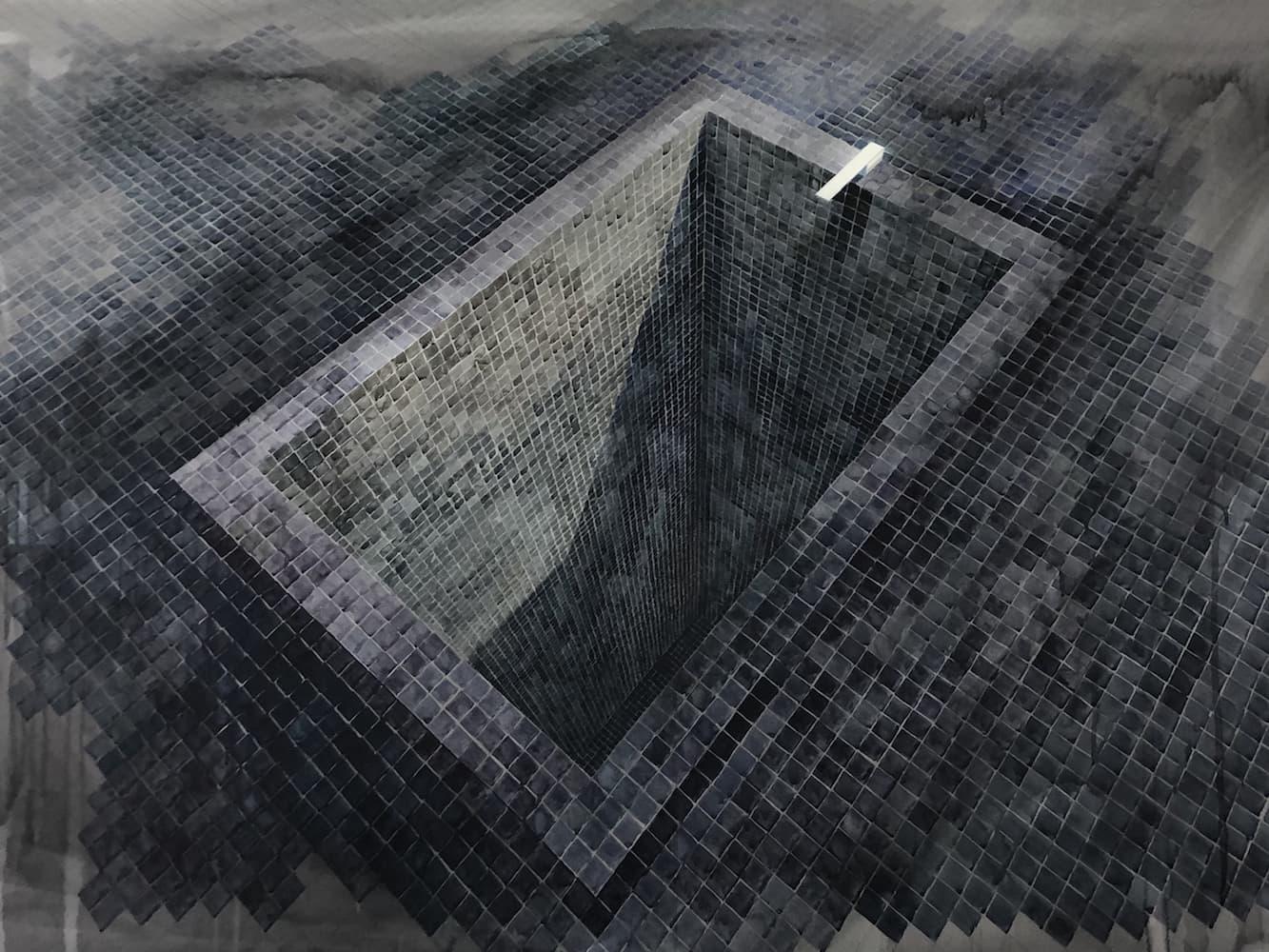 Black Empty Pool II - Acuarela sobre cartulina 188cm x 130cm 2019