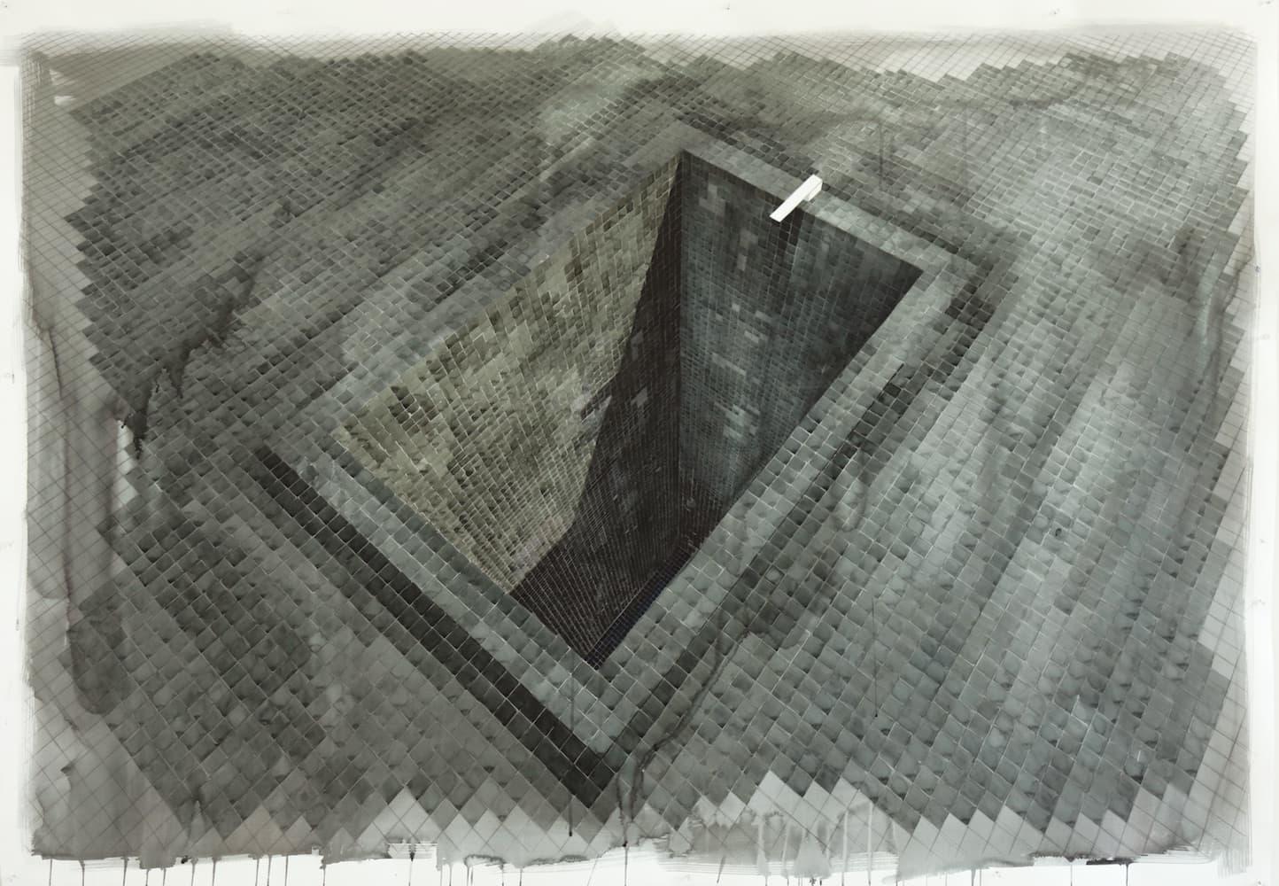 Black Empty Pool II - Acuarela sobre cartulina 188cm x 130cm 2020