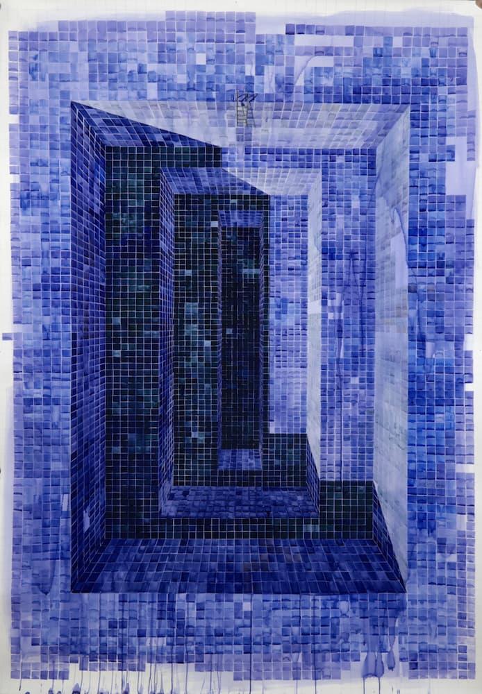 Piscina Escalonada Azul - Acuarela sobre Cartulina 188cm x 130cm 2020